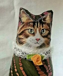 Cat, Kitten, HANDMADE,Fabric Doll, Brown Tabby, Green eyes, Batik, Spring,