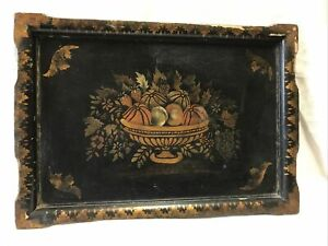 Antique Hand Painted Black Wood Floral Buffet Serving Fireplace Mantle Tole Tray