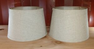 Lot of 2 Beige Linen 16 Inch Tapered Drum Table Lampshades 10x8x7