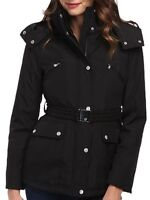 Jessica Simpson Women's Black Hooded Faux-Fur-Collar Puffer Size XSmall