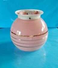 Ancienne suspension verre dépolie boule rose & or vintage rétro 1960  chandelier