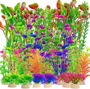 10 Mixed Artificial Green Plastic Plant Aquarium Fish Tank Grass Decoration NEW