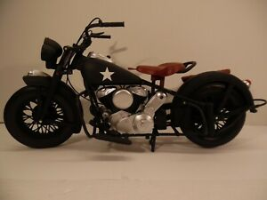 """Indian Chief Army Motorcycle Plastic New Ray Scale 1/6 figure 12"""" Gi joe Black"""