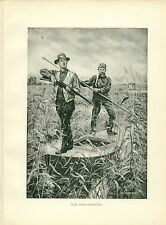 Early 1900s Antique Forest Hunting Print ~ Rail Bird Shooting