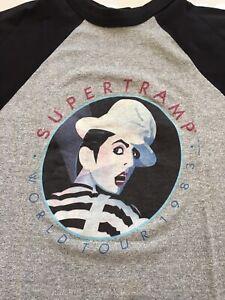SUPERTRAMP BAND WORLD TOUR 1983 RAGLAN T-SHIRT MEN SZ L SOFT & THIN