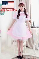 Alice in Wonderland Maid Women Girl Pink Dress For Halloween Cosplay Costume