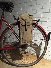 British WWII Military Surplus Shoulder Bag Vintage Bicycle Pannier Green Canvas