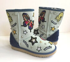 UGG PATCH IT CLASSIC SHORT BLEACH DENIM BLING SHEARLING BOOT US 8 / EU 39 / UK 6