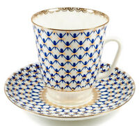 5 fl oz Imperial Porcelain Tea Cup and Saucer Fine Bone China Cup Cobalt Net