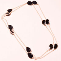 """Black Spinel Faceted Handmade Gemstone Fashion Jewelry Necklace 36"""" SH-52002"""