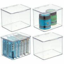 mDesign Plastic Stackable Kitchen Storage Container Bin with Lid, 4 Pack - Clear