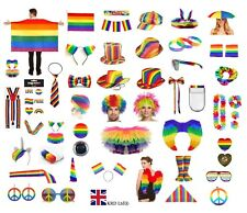 GAY PRIDE FANCY DRESS ACCESSORY Rainbow Hats Jewellery LGBT Parade Party LOT UK