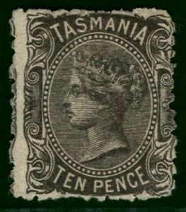 Australia States TASMANIA QV Stamp SG.134 10d Black (1871) MNG Cat £50- YBLUE79