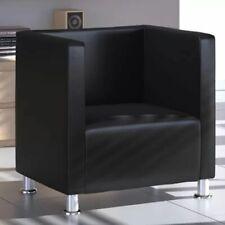 vidaXL Sillón de Salón Cuadrado Moderno de Cuero Artificial Negro Asiento Cubo