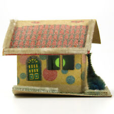 Vintage Putz House Cardboard Christmas Village Windows Angled Perspective Stone