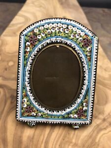 """Antique Micro Mosaic Picture Frame, Floral Design, Made in Italy, 3 1/8"""""""