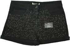 Girls Ladies New Black Stretch Denim Sparkle Diamante Shorts Ex Highstreet