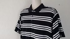 ADIDAS CLIMACOOL Men' Polo Shirt L Black White Striped Short Sle Rugby Polyester
