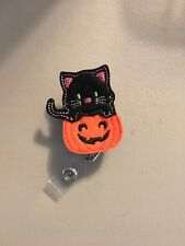 Cat In Pumpkin Felt Retractable Reel ID Badge Holder Lanyard Clip Halloween