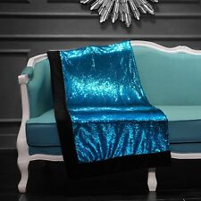 "Turquoise/Silver Reversible Mermaid Sequin Throw-Sparkling! 50""x60"" Gorgeous!!"