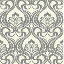 New Grandeco Nouveau Charcoal Metallic Glitter Damask - Wallpaper 113001