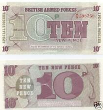FREEPOST UK  BRITISH ARMED FORCES VOUCHERS TEN PENCE NOTE UNCIRCULATED