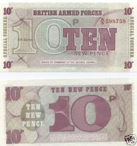 BRITISH ARMED FORCES VOUCHERS TEN PENCE NOTE UNCIRCULATED FREEPOST UK