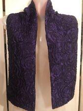 "FAB! GUY LAROCHE PARIS Double Sides Purple 3D Roses Wool & Silk Scarf 7"" x 47"""