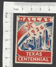 Dallas Texas Centennial 1936 poster stamp MH