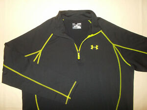 UNDER ARMOUR COLD GEAR 1/4 ZIP LONG SLEEVE BLACK LOOSE FIT SHIRT MENS XL EXCELL.