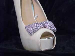 2 Pink Diamante Style Bow Shoe Clips
