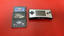 ** Silver Nintendo Gameboy Advance Micro OXY-001 + 3 Games - Tested / Working