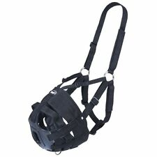 Tough 1 Easy Breathe V Grazing Muzzle Adjustable Webbing Halter Black Horse Full