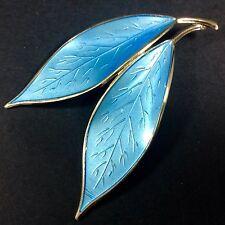 Sterling Silver David Andersen Blue Guilloch Enamel Double Leaf Pin Brooch Large
