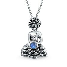 Thai Sitting Buddha Moonstone Antiqued Sterling Silver Amulet Pendant Necklace
