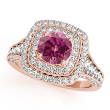 Pink Diamond 1.33 Ct VS2 Solitaire Double Halo Ring14k RG Valentine Day Spl.Sale