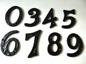 "4"" House Number Heavy Black Antique Wrought Cast Iron Metal Door Gate 0123456789"