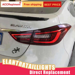 For Hyundai Elantra LED Taillights Assembly Dark / Red LED Rear Lamps 2011-2016