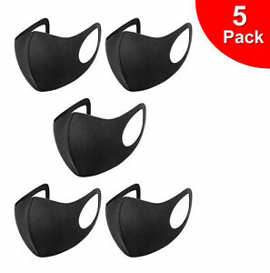 Pack 5 Face Mask Black Reusable Washable Breathable Dust Mouth Cover UK