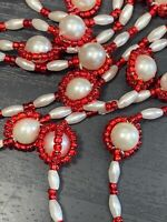 Vintage 1950's white woven Faux Red White pearl Red beaded long necklace tassel