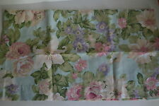 Martha Stewart Aqua Blue Pink Cabbage Roses Flowers Box Pleaded Valance