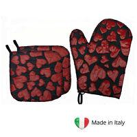 Set 2 Presine e Guanto da Forno in Tessuto Pregiato Idea Regalo Made in Italy