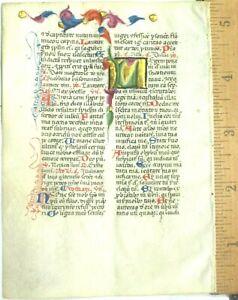 Deco.vellum manuscript lf.Breviary,lg Gold heightened initial etc.ca.1420