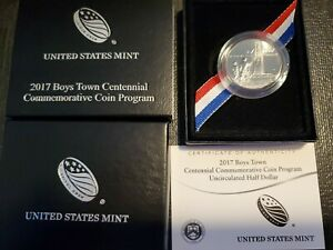 2017 D BOYS TOWN CENTENNIAL Commemorative Half Dollar UNCIRCULATED w/ box & coa
