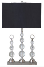 Luxury Crystal Finial Table Lamp with Black Shade 40x24x66cmh - RRP $180