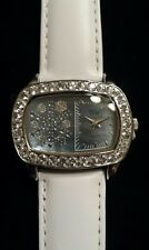 MOTHER-OF-PEARL SNOWFLAKE Watch, 2.84 Cttw WHITE TOPAZ Bezel, White Leather Band