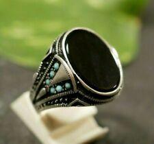 Unisex 925 Sterling Silber Ring Siegelring Onyx Schwarz Türkis Oval Breit Groß