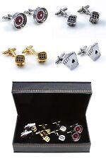 4 Pairs Casino Dealer Gambler Cards Poker Dice Die Cufflinks in a Fancy Gift Box