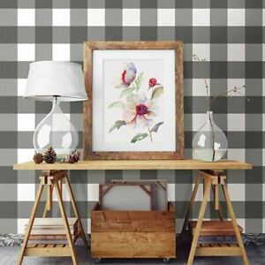 CHESAPEAKE BY BREWSTER 3115-12532 AMOS BLACK & GRAY CHIC GINGHAM WALLCOVERING