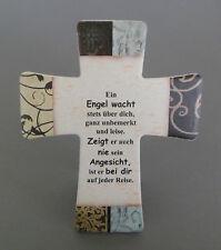 """Wandkreuz zum Hängen od. Stellen """"Ein Engel wacht """" 14,5 x 12 cm Keramik NI 2544"""
